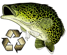 Predatek's Murray Cod mascot and recycling logo