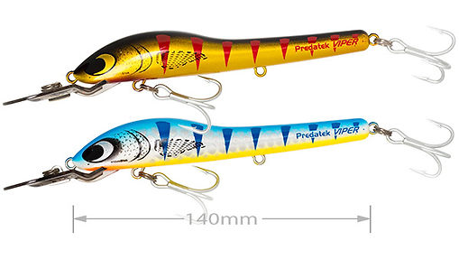 Predatek H150X HyperViper Xtra fishing lure in Daly River Gold (DR) and Barra Blue (BB) colours