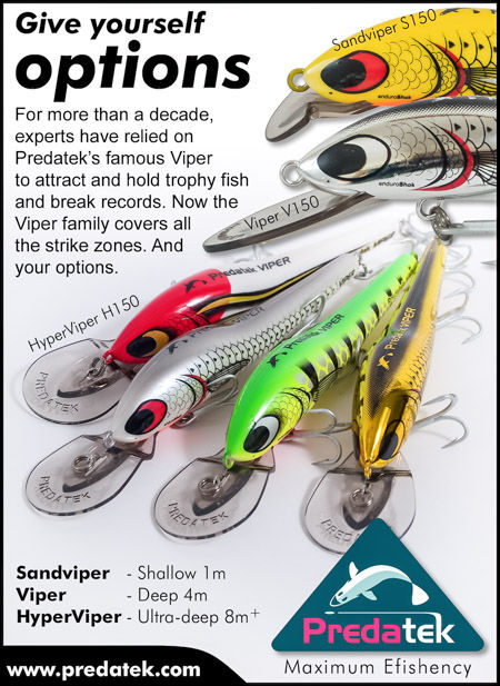 Magazine advertisement for launch of the Australian-made Predatek HyperViper ultra-deep-diving minnow-style fishig lure