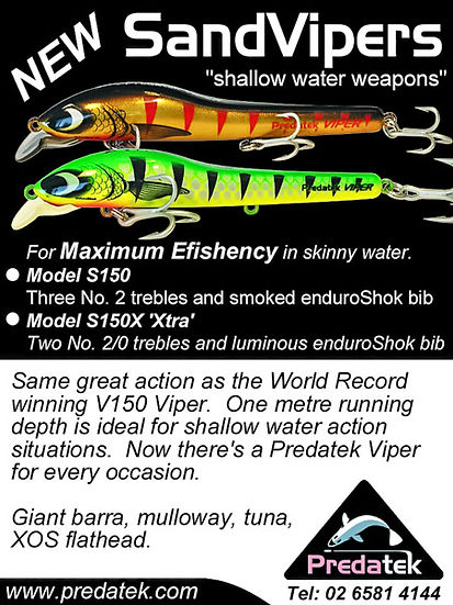 Magazine advertisemet for introduction of the Australian-made S150 Sandviper fishig lure developed for the North American market