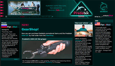 Screen shot of the original Predatek fishing lures website