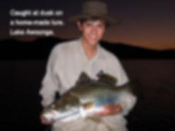 Barramundi caught by Matt Smith at Lake Awoonga on a home-made fishing lure