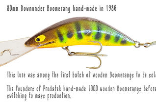 One of th first batch of hand-made wooden Boomerang fishin lures manufactured by Downunder Lures (Predatek) in 1986