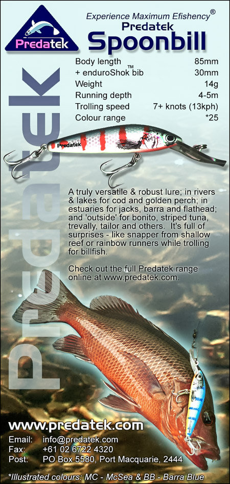 Magazine advertisement for the Predatek S85 Spoonbill fishing lure 2000