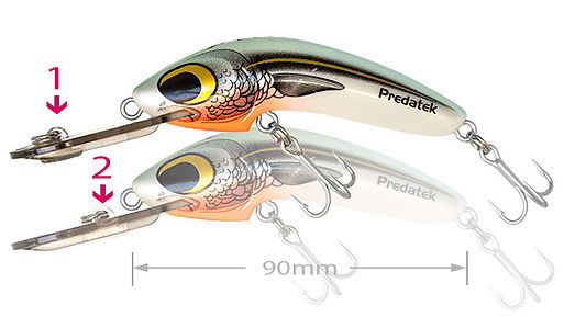 Predatek WS90 Woomera Skitzo dual-action fishing lure in Poddy Mullet colours (Made in Australia)