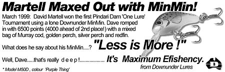 1999 magazine advertisement about the success of Predatek's M50D fishing lure