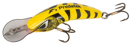 B65S Boomerang fishing lure in Yellow Tiger colours