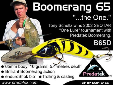 Tonu Schultz won the 2002 'One Lure' tournament with the Predatek B65D Boomerang fishing lure