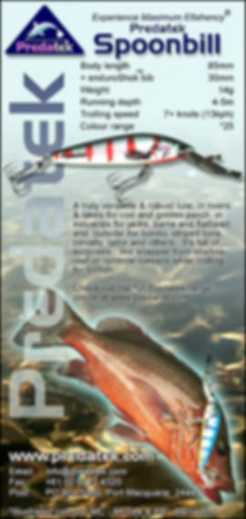 Madazine advertisement introducing the Predatek S85 Spoonbill fishinglure (2000)