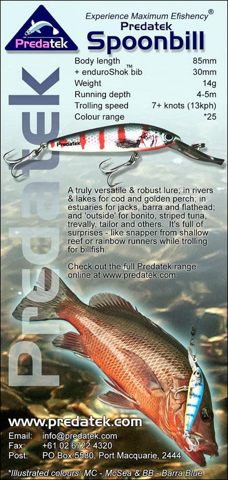 Madazine advertisement introducing the Predatek S85 Spoonbill fishinglure (2000)