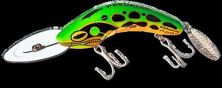Predatek D120 Downunder Boomerang fishing lure in 'Tropical Frog' colour