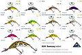 Predatek B65M Boomerang fishing lure product colours