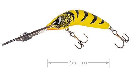 Predatek B65UD Boomerang ultra-deep fishing lure in Yellow Tiger colours