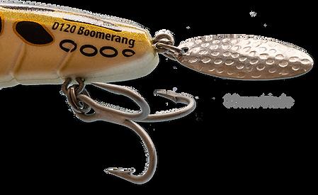 Tail detail of Predatek D120 Downunder Boomerang fishing lure