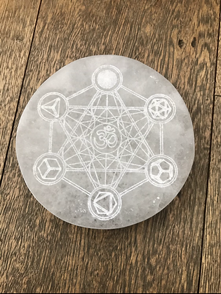 Selenite with etched Metatron Cube + OM