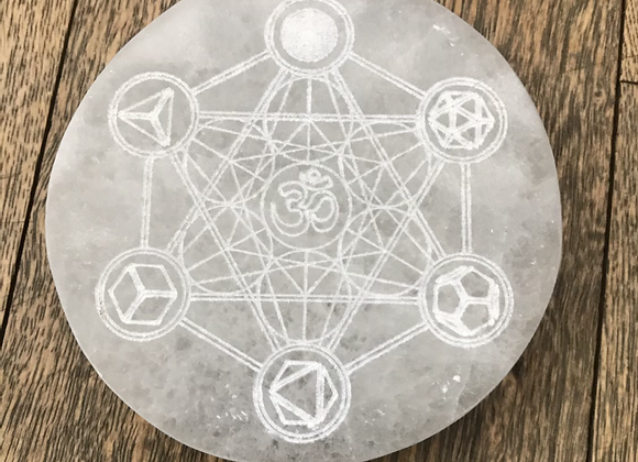 Selenite Crystal etched with Metatron Cube + OM