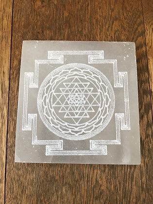 Selenite with etched Sri Yantra