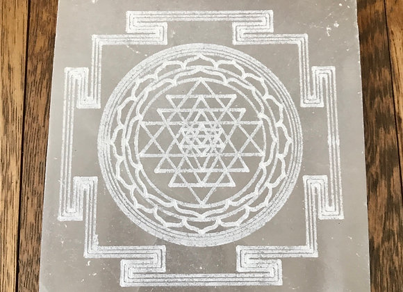 Selenite Crystal etched with Sri Yantra