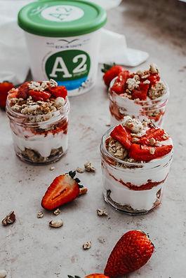 Vanilla Strawberry Compote Granola Pots