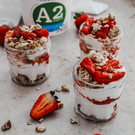 Vanilla Strawberry Compote Yoghurt Pots