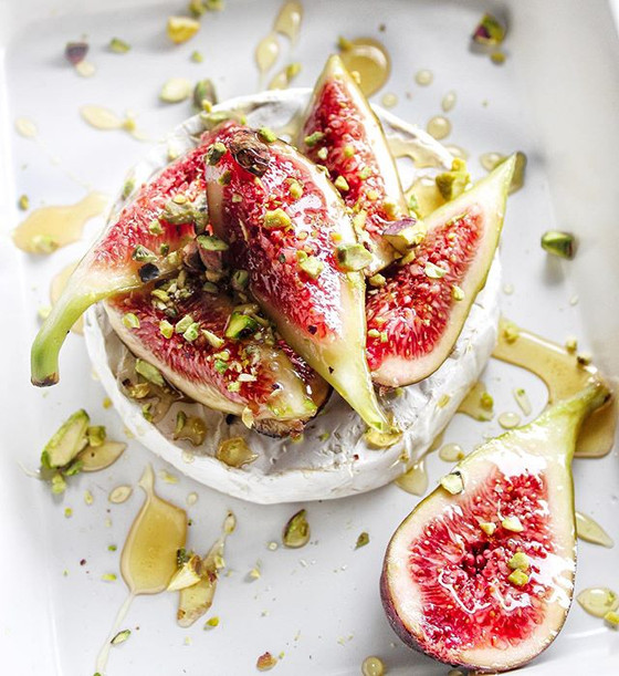 Baked Triple Cream Brie with Figs, Pistachios & Honey
