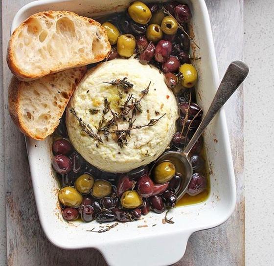 Baked Ricotta, Olives & Fresh Thyme