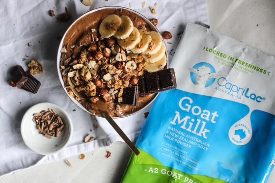 Chocolate Espresso Smoothie Bowl - CapriLac Goat's Milk x The Delightful Cook - Sponsorship Coll