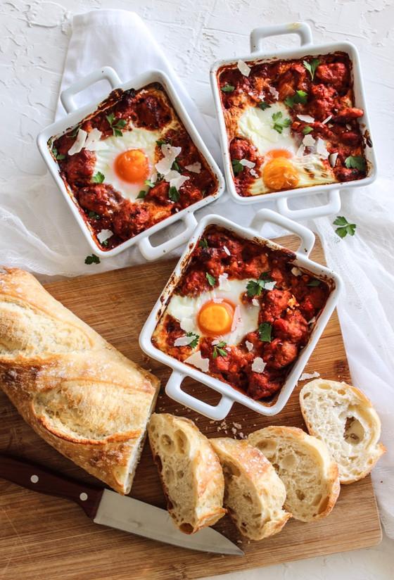 Italian Baked Eggs & Pork Sausage