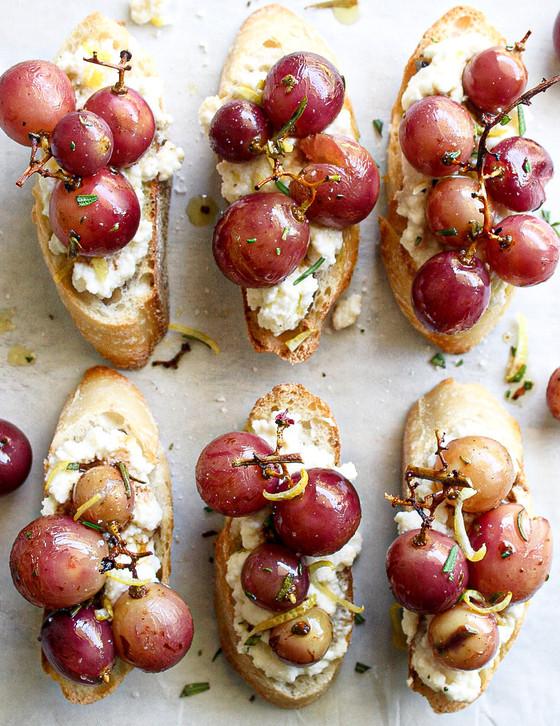 Roasted Grape & Ricotta Crostini