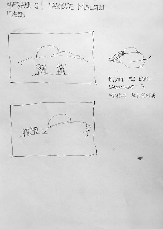 Skizzen und Notizen zu Aufgabe 3 - FARBIGE MALEREI (1h)