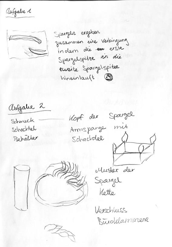 Skizzen und Notizen zu Aufgabe 2 - DREIDIMENSIONALE ARBEIT (1h)