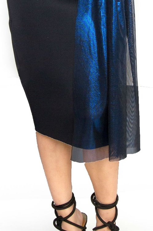 Black and Metallic Blue Peplum Skirt