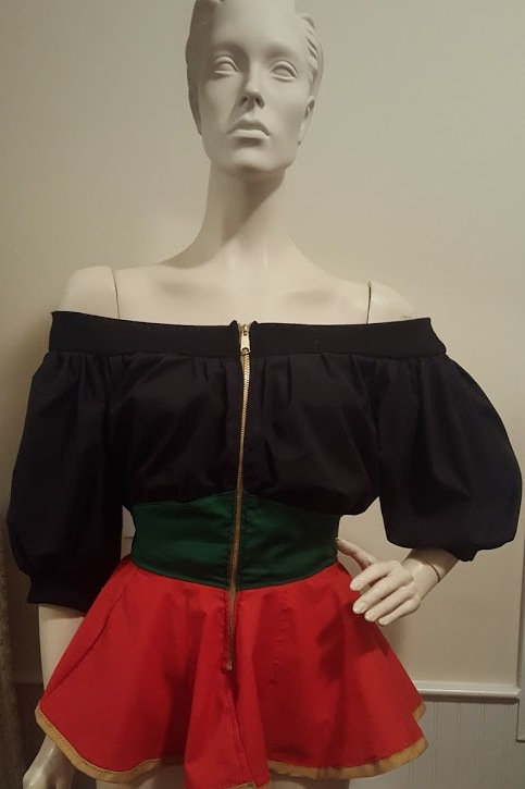BLACK, GREEN AND RED PEPLUM TOP