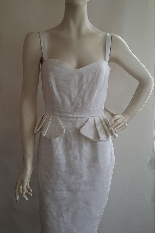 White Linen Pencil Dress
