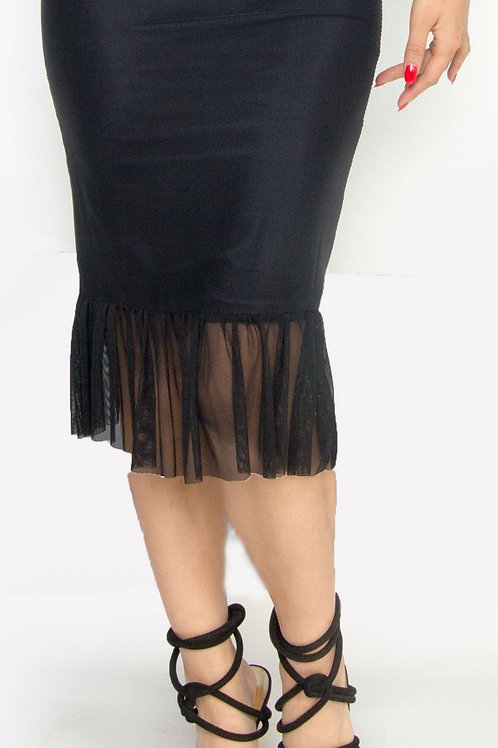 Black Mesh Pencil Skirt