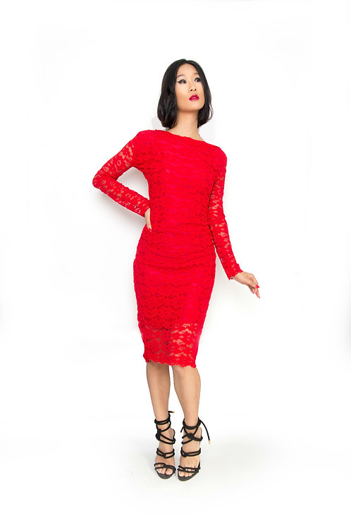 Red Lace Low- Back Fitted Dress