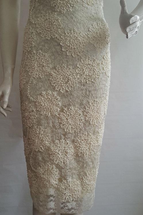 Ivory Satin Pencil Skirt
