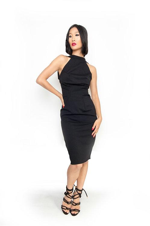Black Ponte Low- Back Pencil Dress