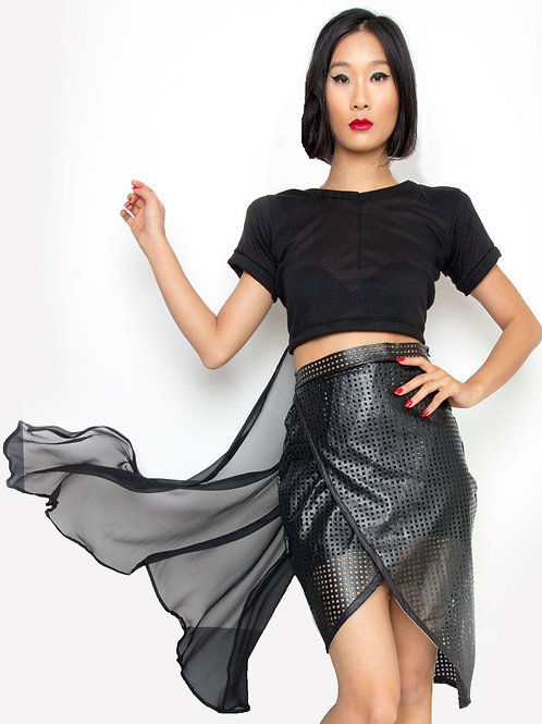 Black Knit Cropped Top w. Silk Chiffon Train