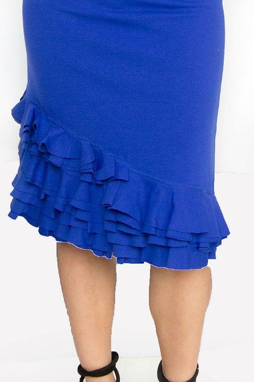 Royal Ponte Ruffle Hem Pencil Skirt