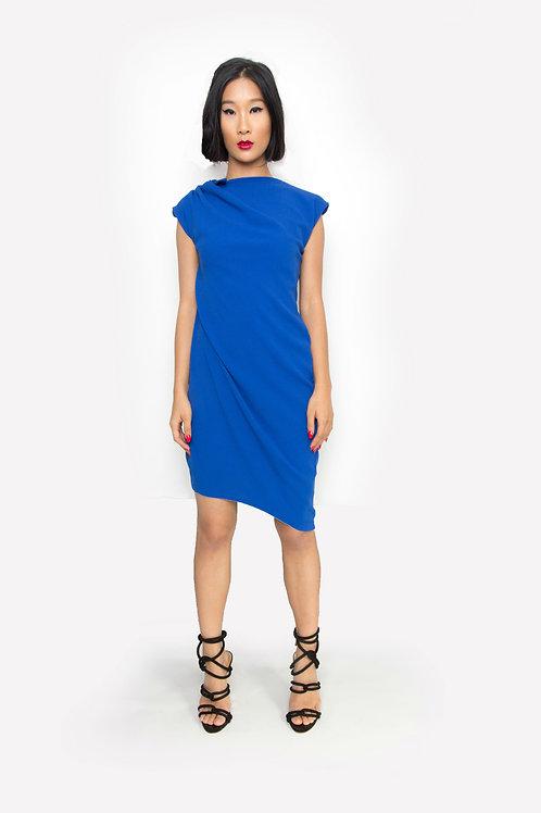 Royal Crepe Draped Asymmetric Dress