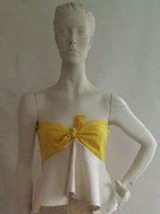 Yellow and Ivory Strapless Top