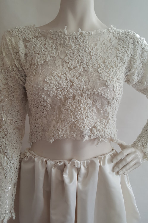 Ivory Sequin Cropped Top