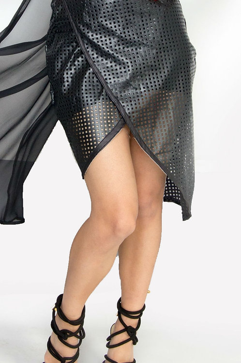 Black Perforated Faux Leather Wrap Skirt