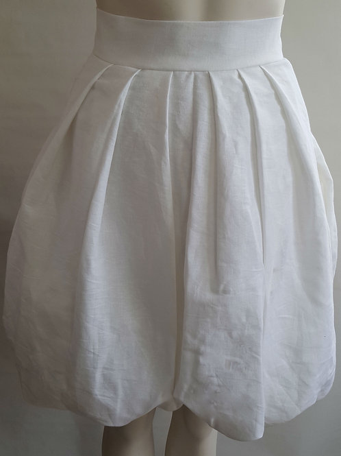 White Linen Bubble SKirt