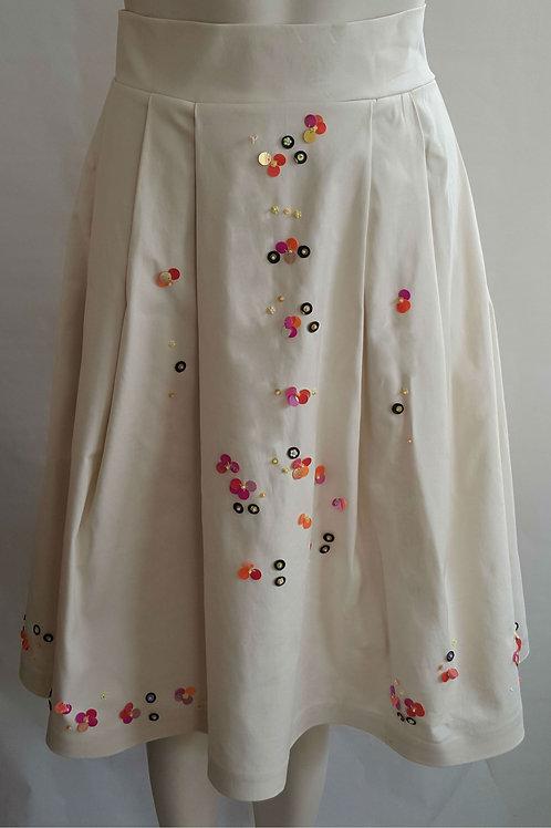 Mulitcolor Hand- beaded Midi Skirt