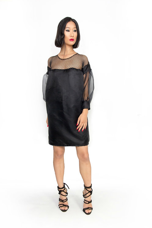 Black Gazar and Silk Organza Shift Dress