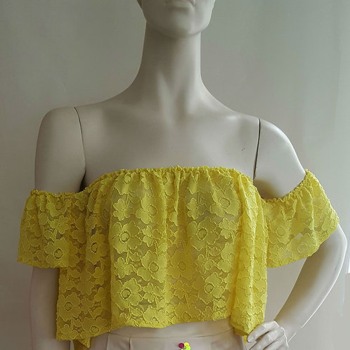 Yellow Lace Cropped Top