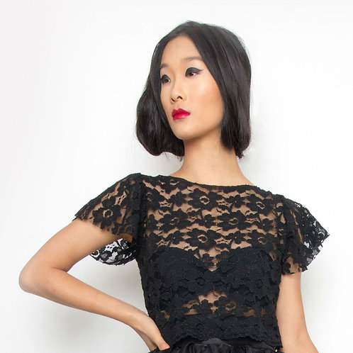 Black Lace Short- Sleeve Cropped Top