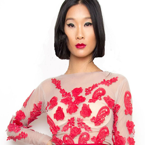 Red Applique Long- Sleeve Top